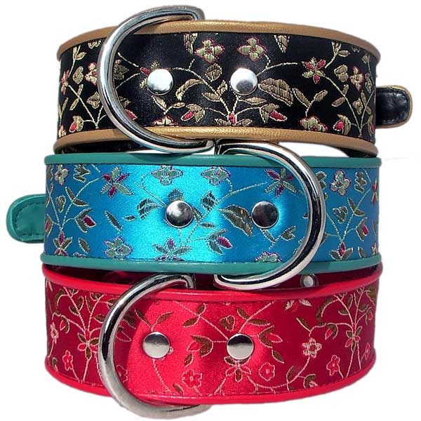 """Jewels"" Brocade and Calf leather Dog Collars - Holly & Lil Collars Handmade in Britain, Leather dog collars, leads & Dog harnesses."