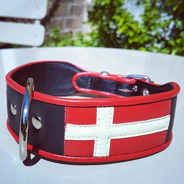 Denmark Flag Dog Collar - Holly & Lil Collars Handmade in Britain, Leather dog collars, leads & Dog harnesses.