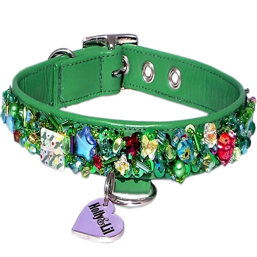 Emerald City. Sequins & Swarovski dog collar