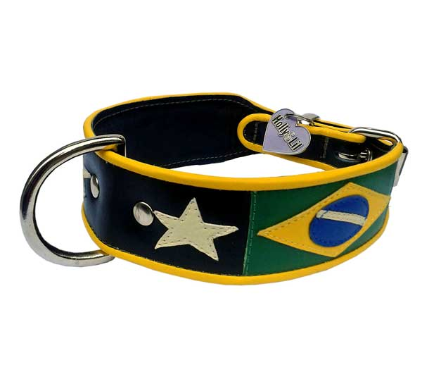Flying down to Rio Flag of Brazil Dog Collar - Holly & Lil Collars Handmade in Britain, Leather dog collars, leads & Dog harnesses.