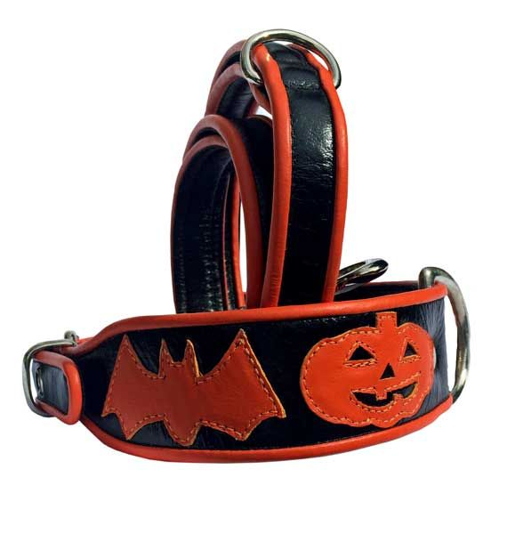 Halloween Dog Collar - Holly & Lil Collars Handmade in Britain, Leather dog collars, leads & Dog harnesses.