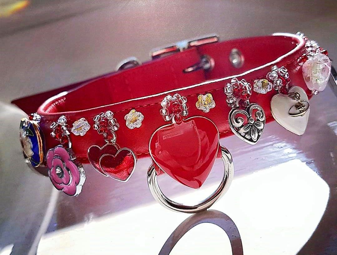 Hearts & Flowers. Charm dog collar - Holly & Lil Collars Handmade in Britain, Leather dog collars, leads & Dog harnesses.