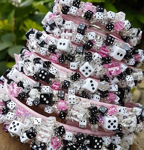 Beads dog collars - dice glass beads millifiori
