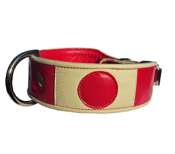 Nisshōki 日章旗. Flag of Japan Dog Collar (1) - Holly & Lil Collars Handmade in Britain, Leather dog collars, leads & Dog harnesses.