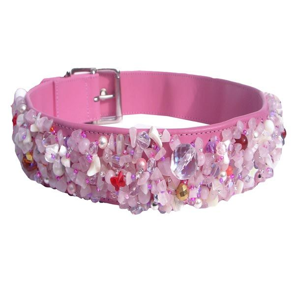 Rose Quartz Love dog collar