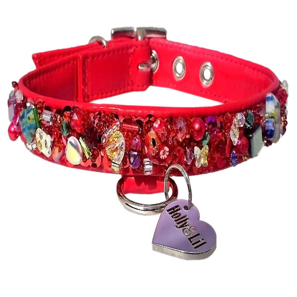 Ruby Slippers. Sequins & Swarovski dog collar