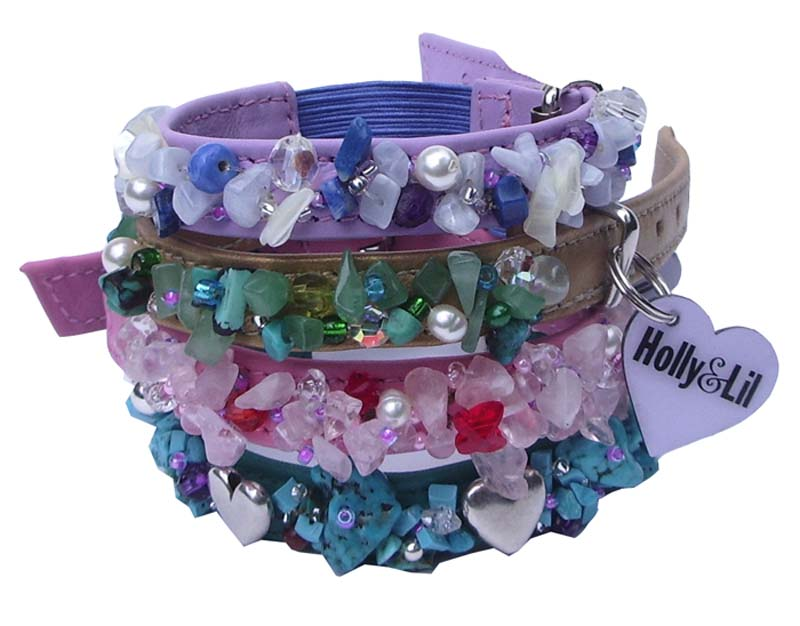 Semi-Precious Clusters - Holly & Lil Collars Handmade in Britain, Leather dog collars, leads & Dog harnesses.