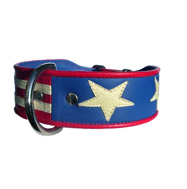 Stars and Stripes.  Flag of America Dog Collar. - Holly & Lil Collars Handmade in Britain, Leather dog collars, leads & Dog harnesses.