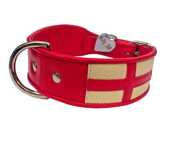 The Cross of St George.  England Flag collar - Holly & Lil Collars Handmade in Britain, Leather dog collars, leads & Dog harnesses.