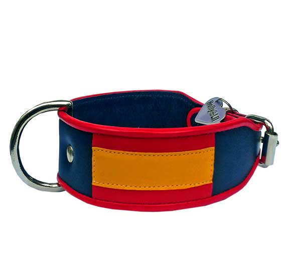 The Flag of Spain La Rojigualda - Holly & Lil Collars Handmade in Britain, Leather dog collars, leads & Dog harnesses.