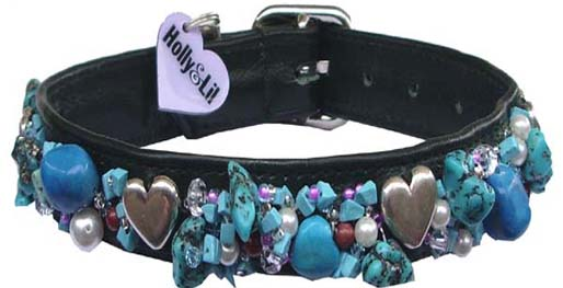 Turquoise&Hearts dog collar