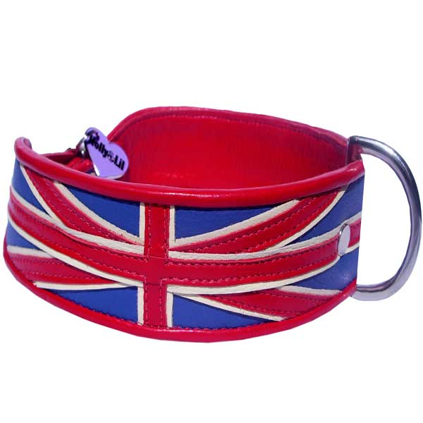 Union Jack Dog Collar - Holly & Lil Collars Handmade in Britain, Leather dog collars, leads & Dog harnesses.