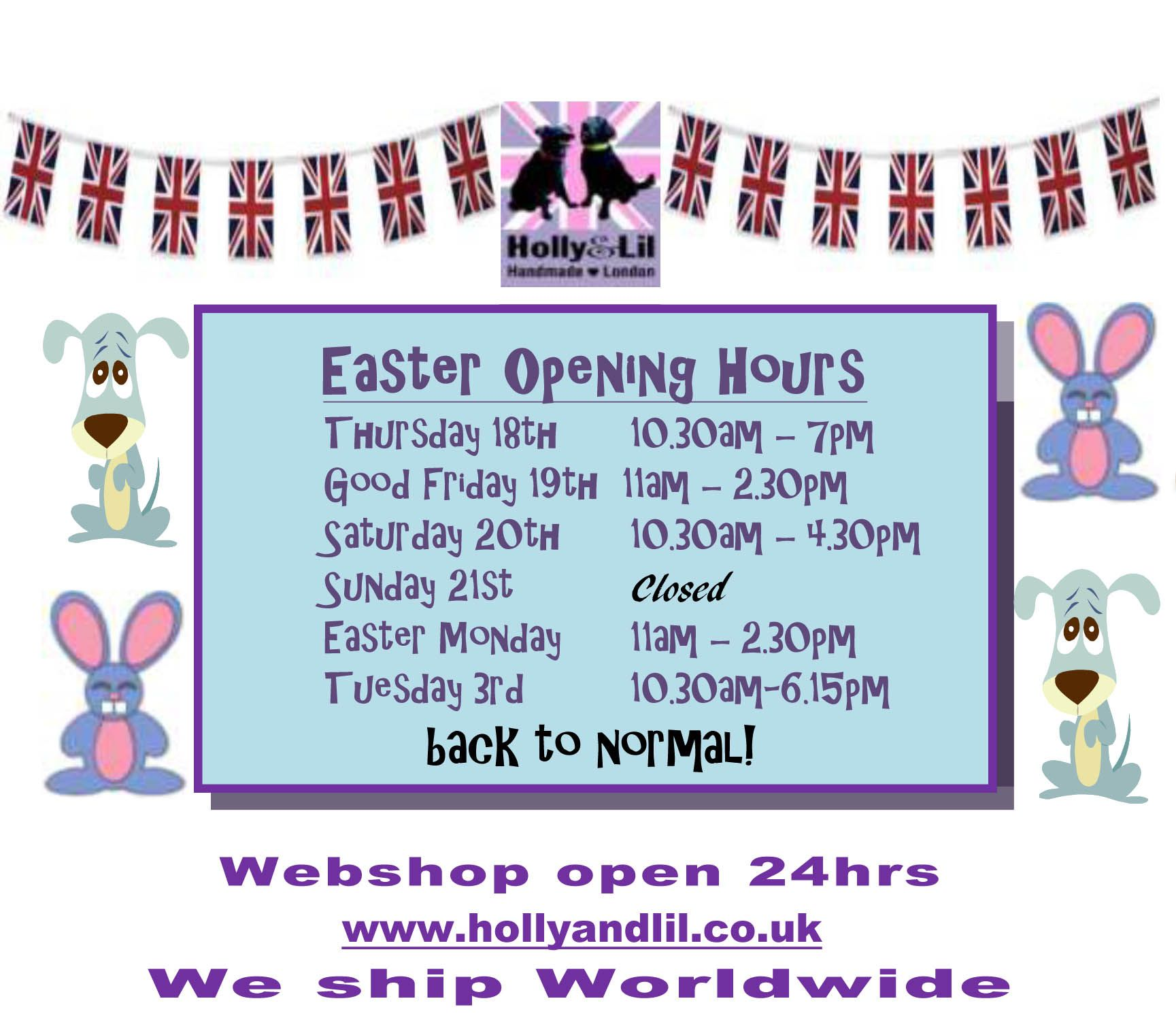 Easter Opening Times for Tower Bridge Road Shop